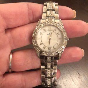 Bulova stainless steel crystal watch